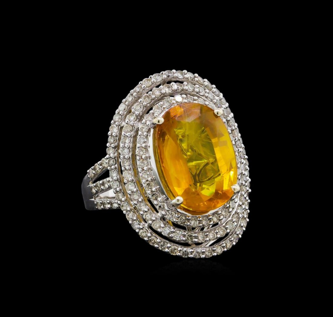 10.69 ctw Yellow Sapphire and Diamond Ring - 14KT White