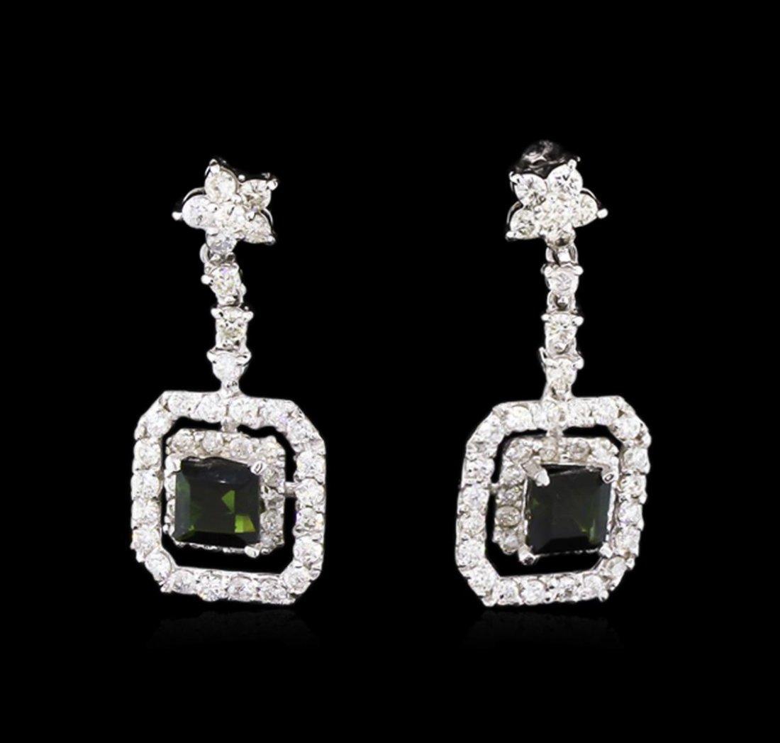 0.85 ctw Green Tourmaline and Diamond Earrings - 14KT