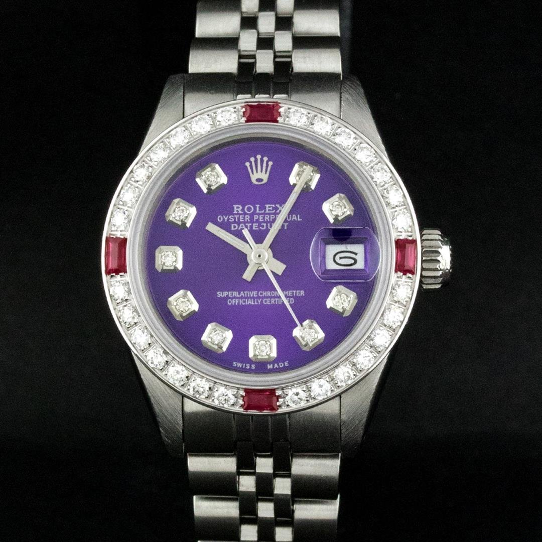 Rolex Stainless Steel Purple Diamond and Ruby DateJust