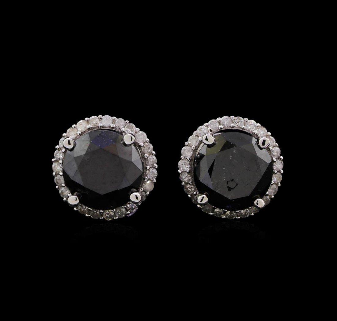 3.79 ctw Black Diamond Stud Earrings - 14KT White Gold