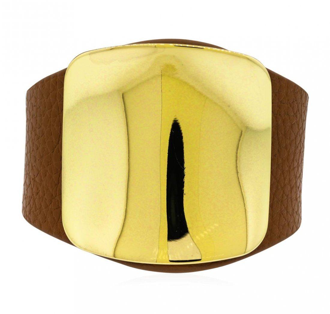 Leather Strap Bracelet - Rhodium Plated