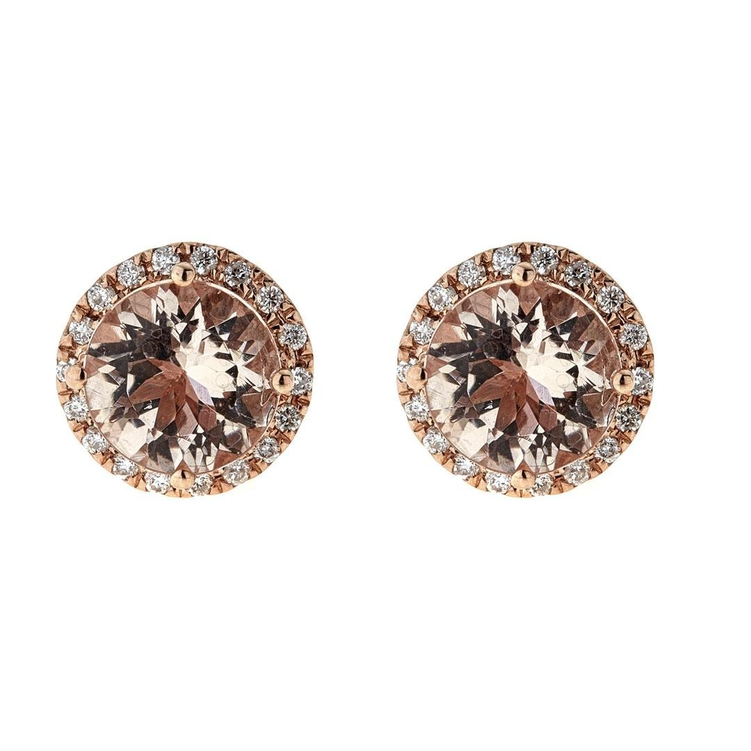 3.36 ctw Morganite and Diamond Earrings - 14KT Rose