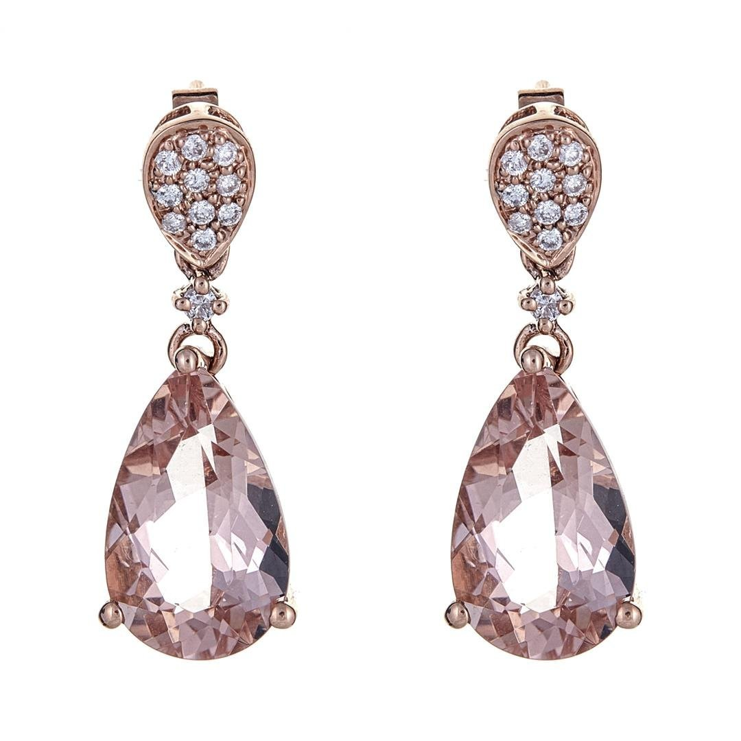 6.34 ctw Morganite and Diamond Earrings - 14KT Rose