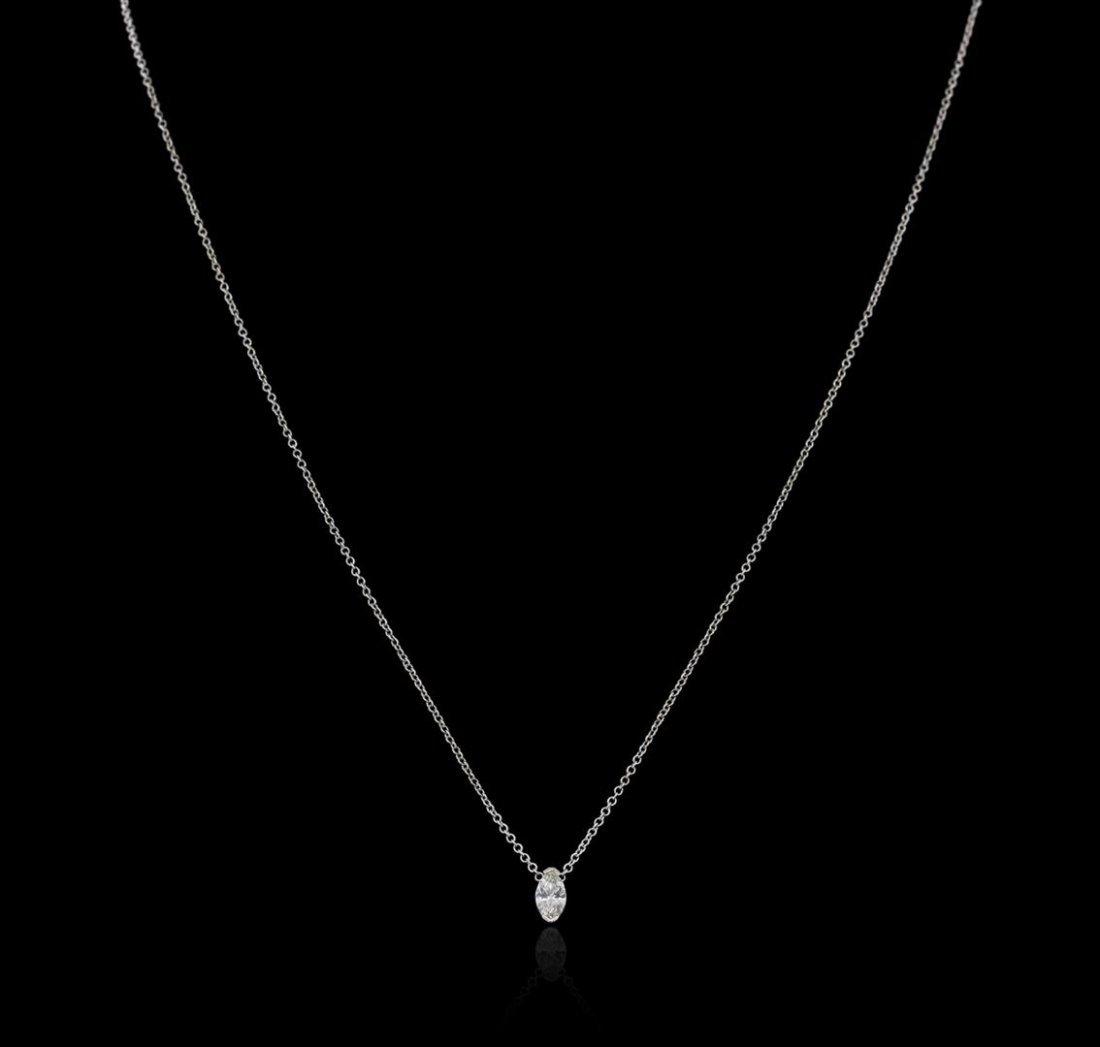 14KT White Gold 0.30 ctw Diamond Solitaire Necklace