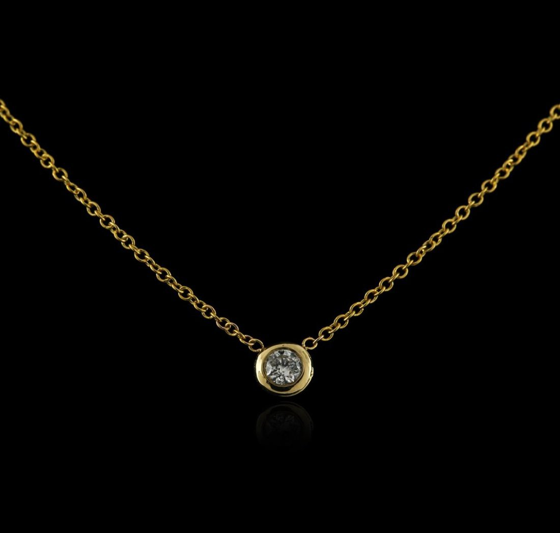 14KT Yellow Gold 0.09 ctw Diamond Solitaire Necklace