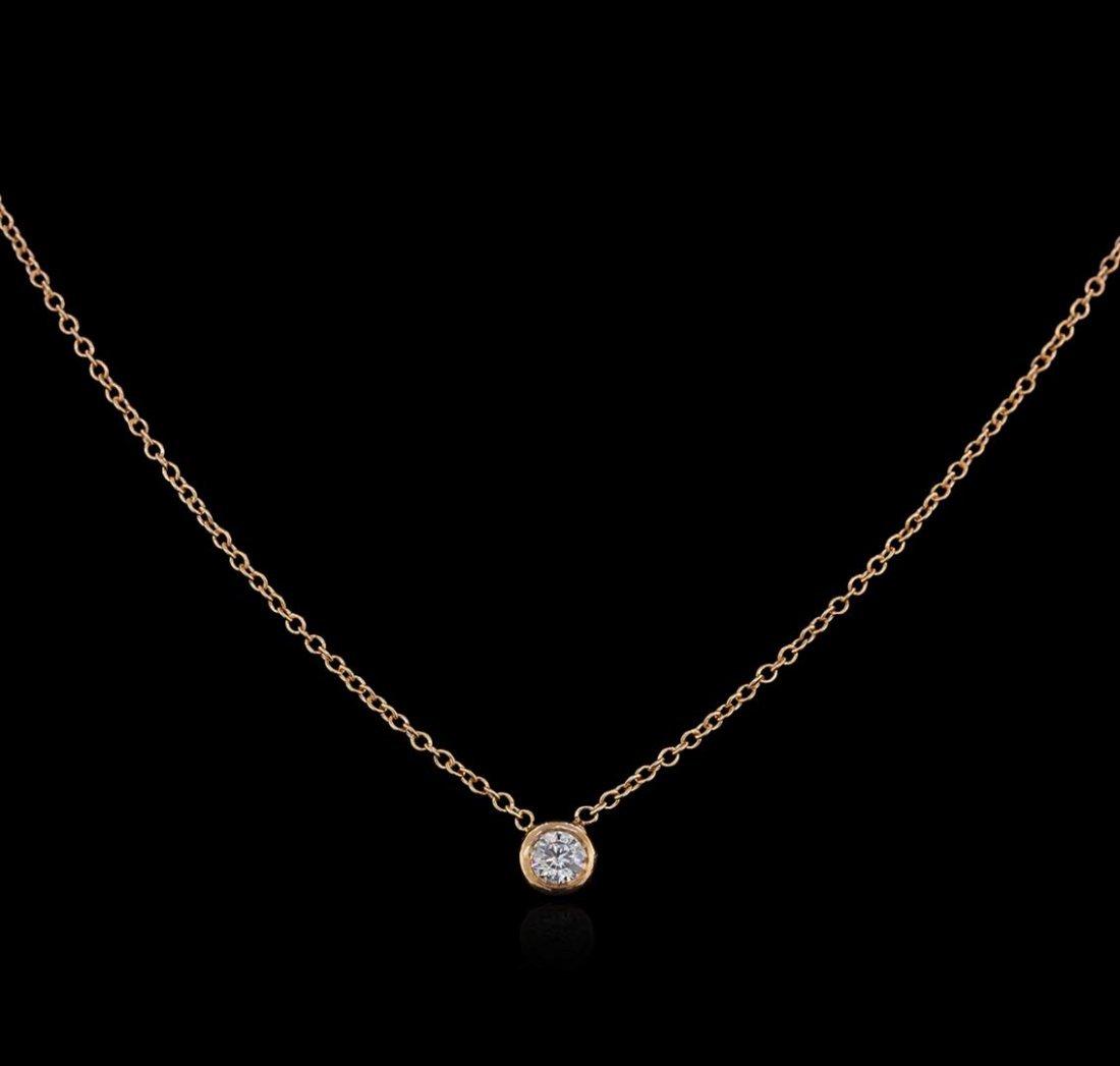 14KT Rose Gold 0.09 ctw Diamond Solitaire Necklace