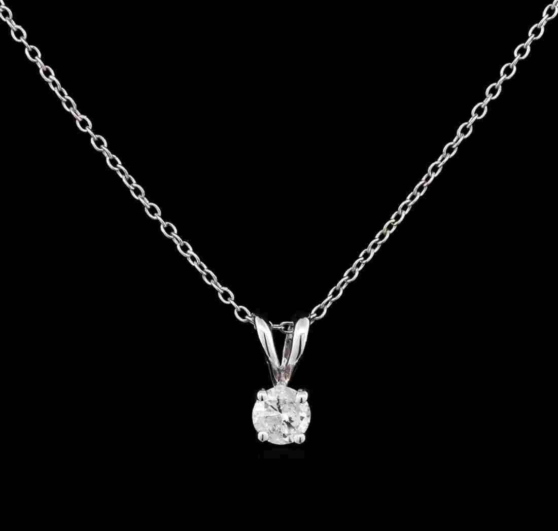 0.22 ctw Diamond Pendant With Chain - 14KT White Gold
