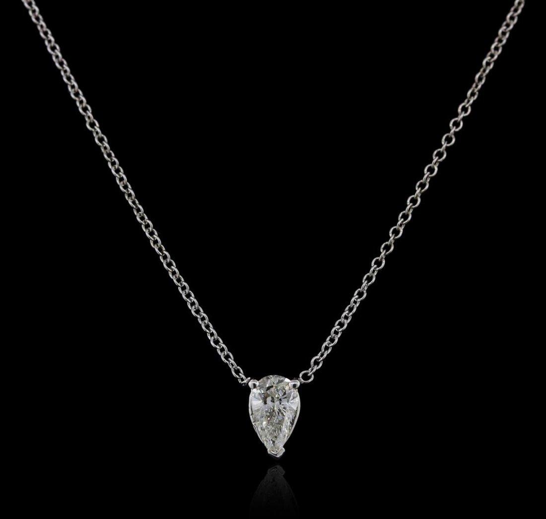 14KT White Gold 0.38 ctw Diamond Solitaire Necklace