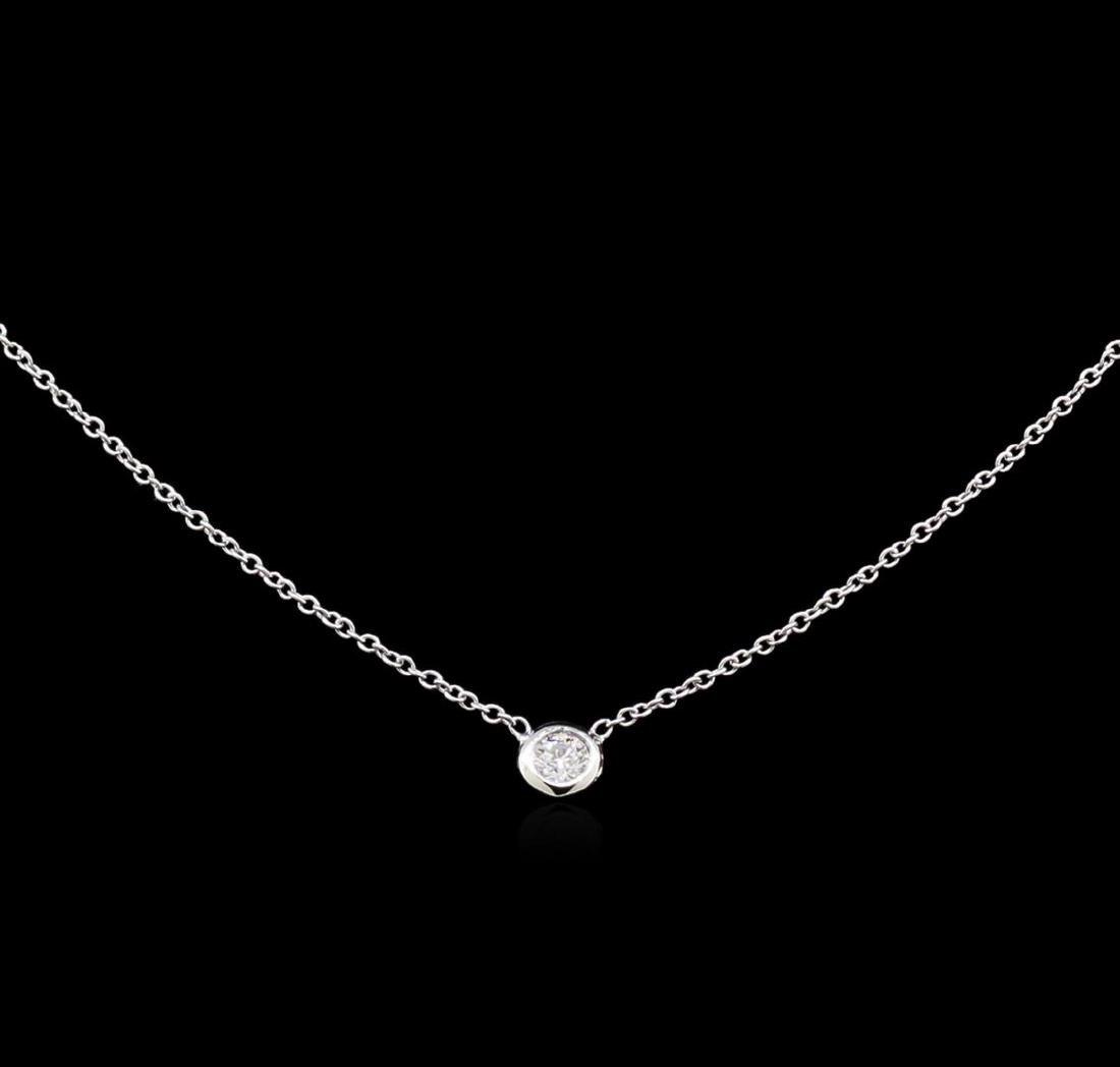 0.10 ctw Diamond Solitaire Necklace - 14KT White Gold