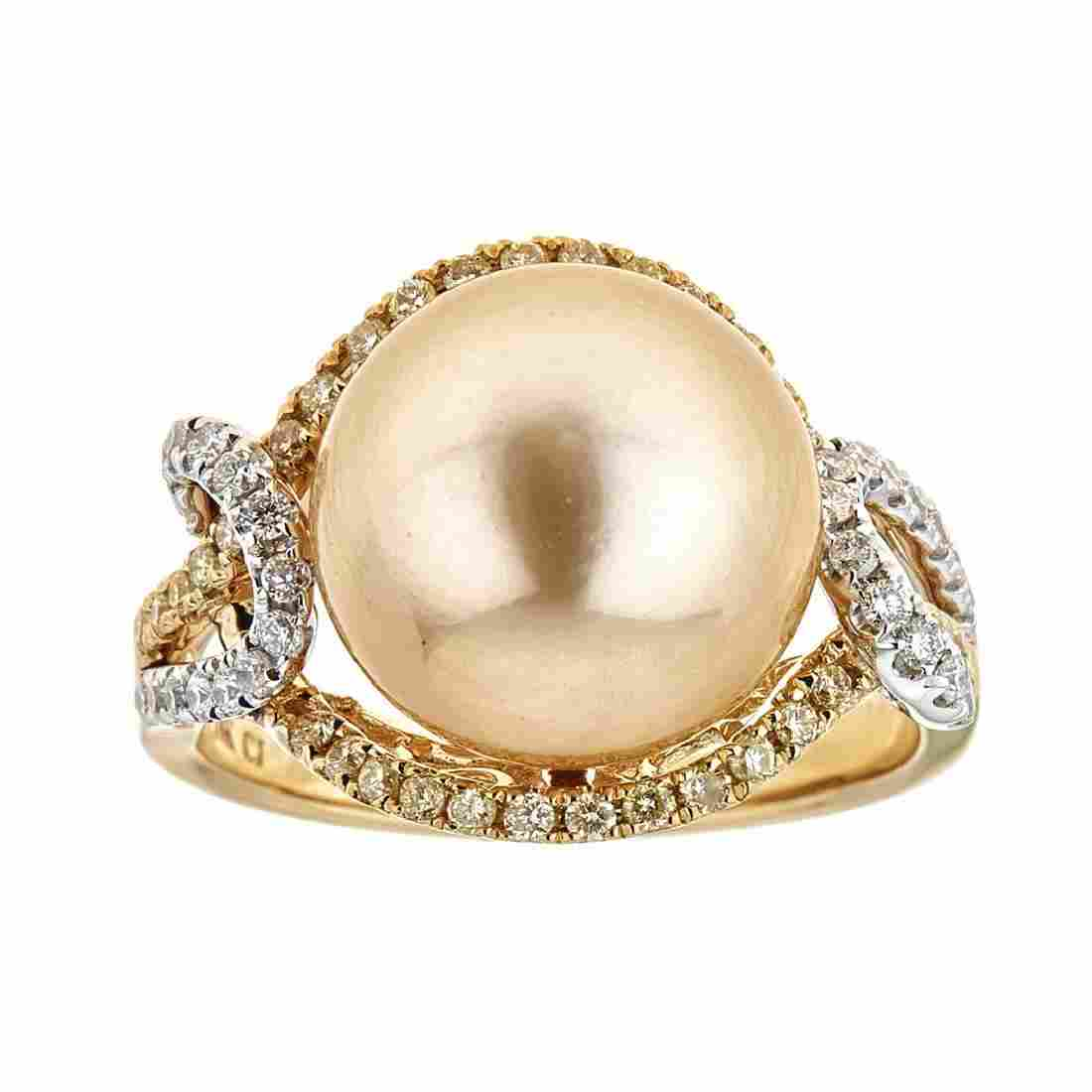 12.03 ctw South Sea Pearl and Diamond Ring - 18KT