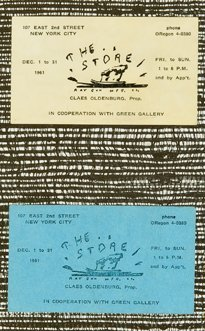 "37: Claes Oldenburg, ""The Store"" Business Cards, 1961"