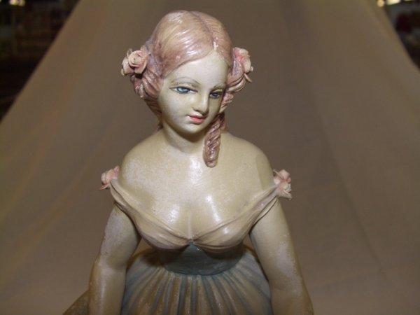 11: Grand Porcelain Figural of woman holding Basket  - 4