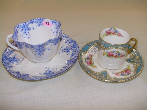 13: two piece Shelley cup and saucers 1 dainty blue