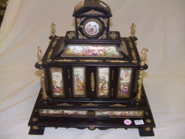 17: stunning hand painted jewelry box with clock bronze