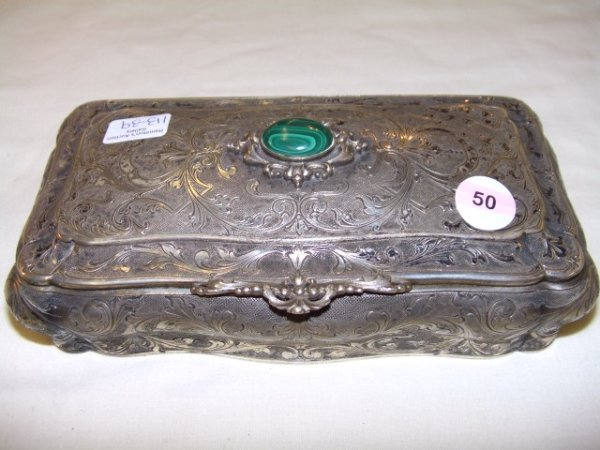 50: stunning sterling silver .800 antique dresser box
