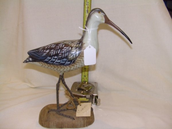 337: Vintage handcarved and painted bird figurine