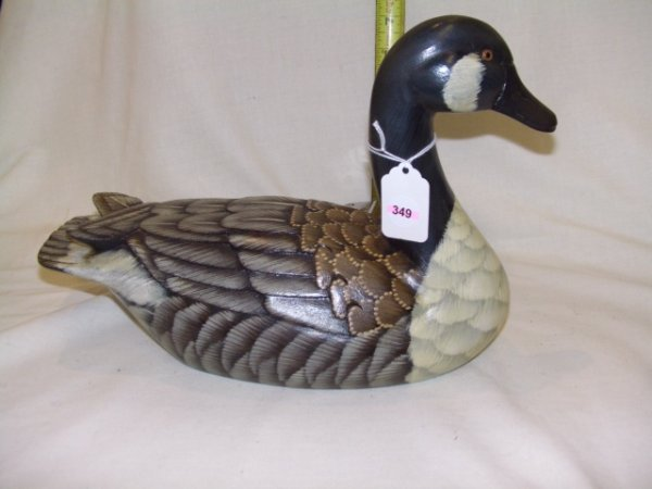 349: Vintage handcraved and painted duck decoy