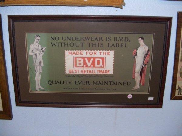 571: 1917 framed advertiser for B. V. D. Underwear Ad