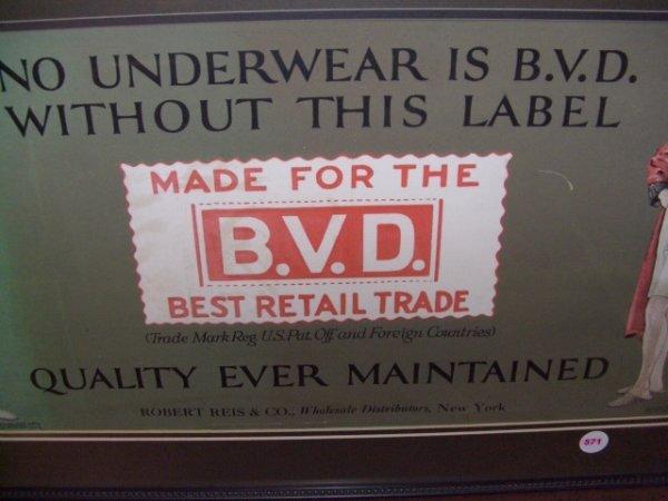 571: 1917 framed advertiser for B. V. D. Underwear Ad - 2