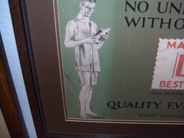 571: 1917 framed advertiser for B. V. D. Underwear Ad - 3