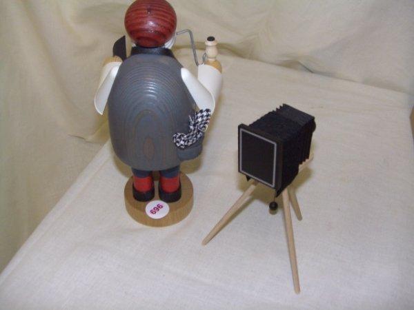 696: handmade and painted German smoker figurine comes