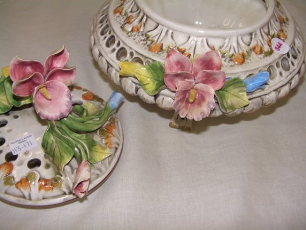 844:  porcelain V. Bassano Italian floral covered dish - 4