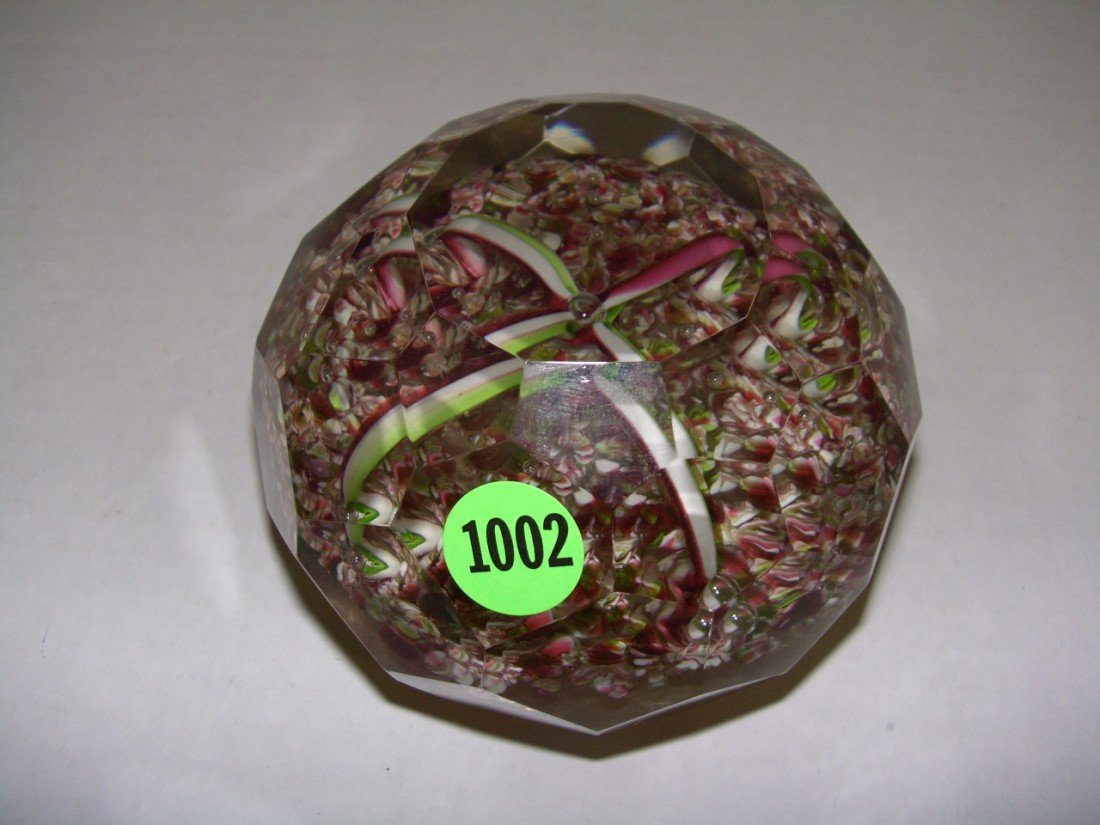 1002: large art glass paper weight with flower design