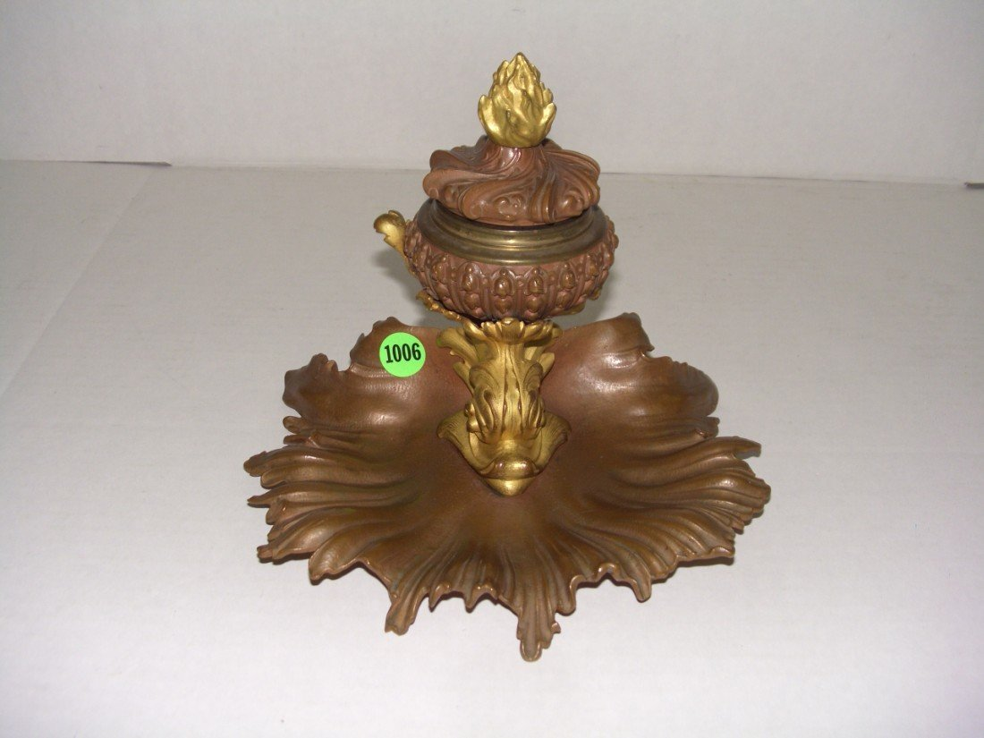 1006: stunning antique (1890's) bronze ink well with do