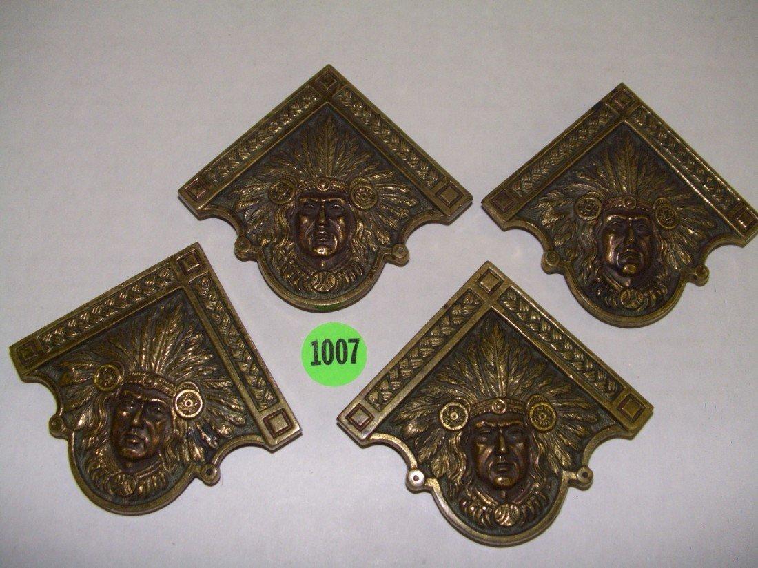 1007: 4 piece bronze / brass Native American 1930 calen