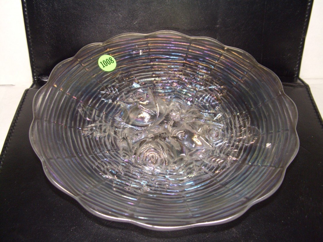 1008: vintage white carnival glass rose plate, minor ni