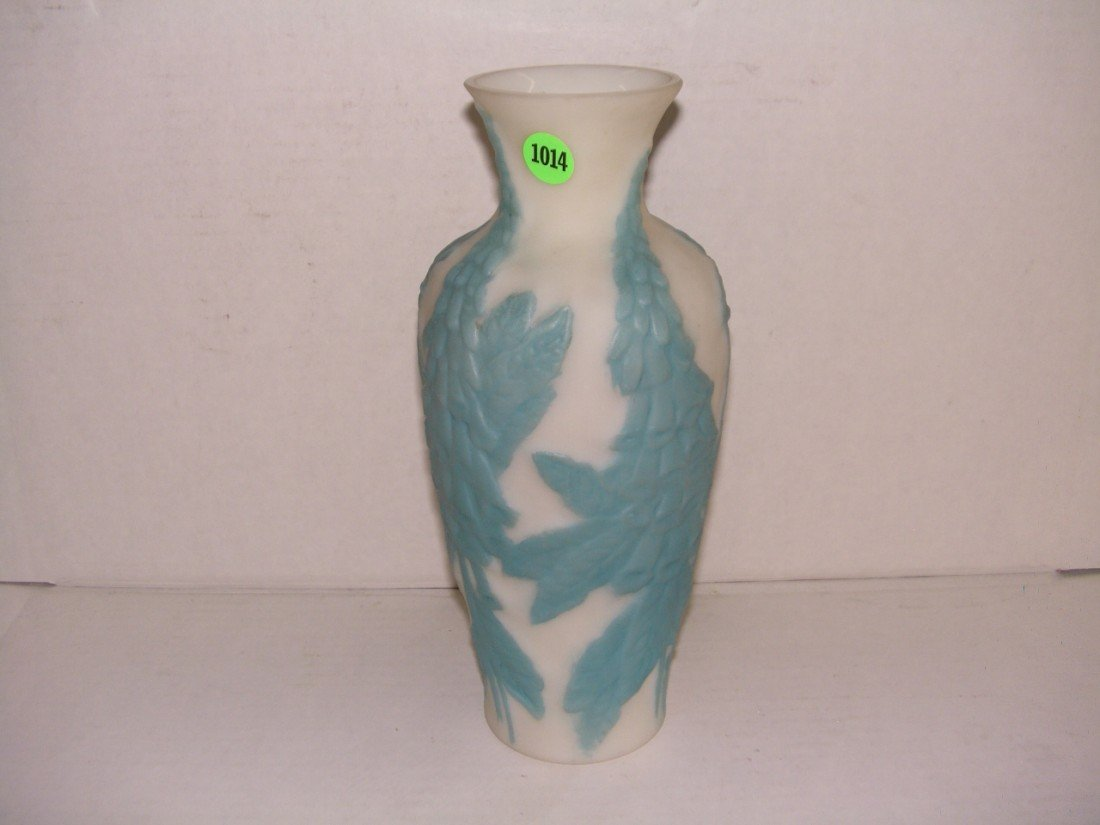 "1014: phoenix glass floral vase 10 1/2"" tall"