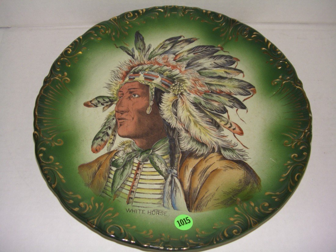 "1015: large painted Native American plate titled ""White"