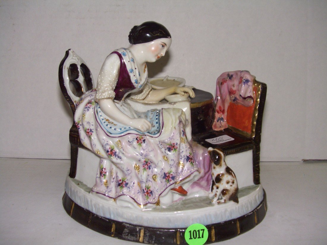 1017: Staffordshire? Figural Porcelain Inkwell Figurine