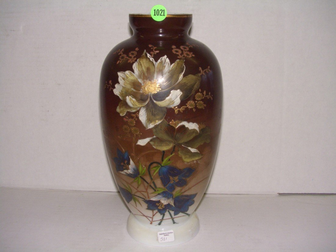 1021: antique hand painted Bristol glass vase with flor