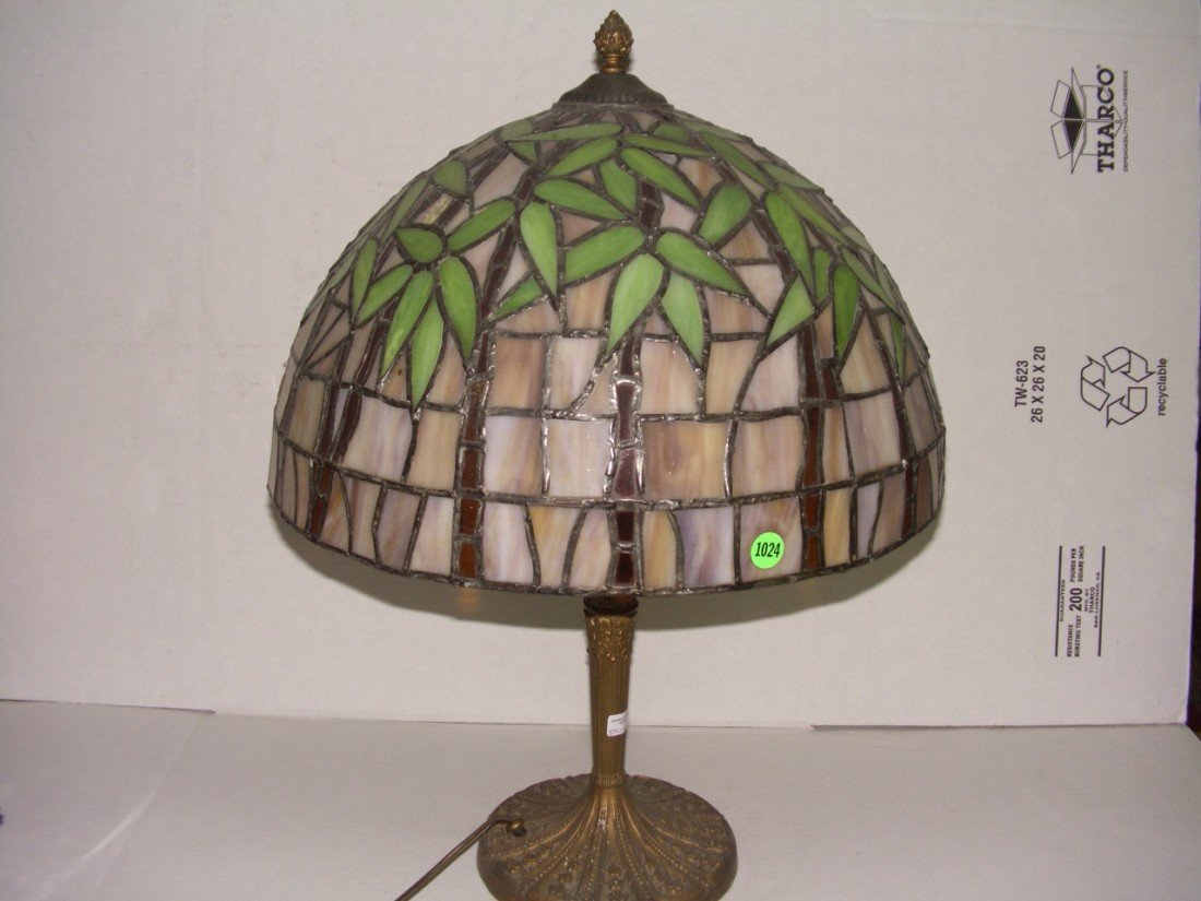 1024: large vintage stain glass table lamp with bronze?