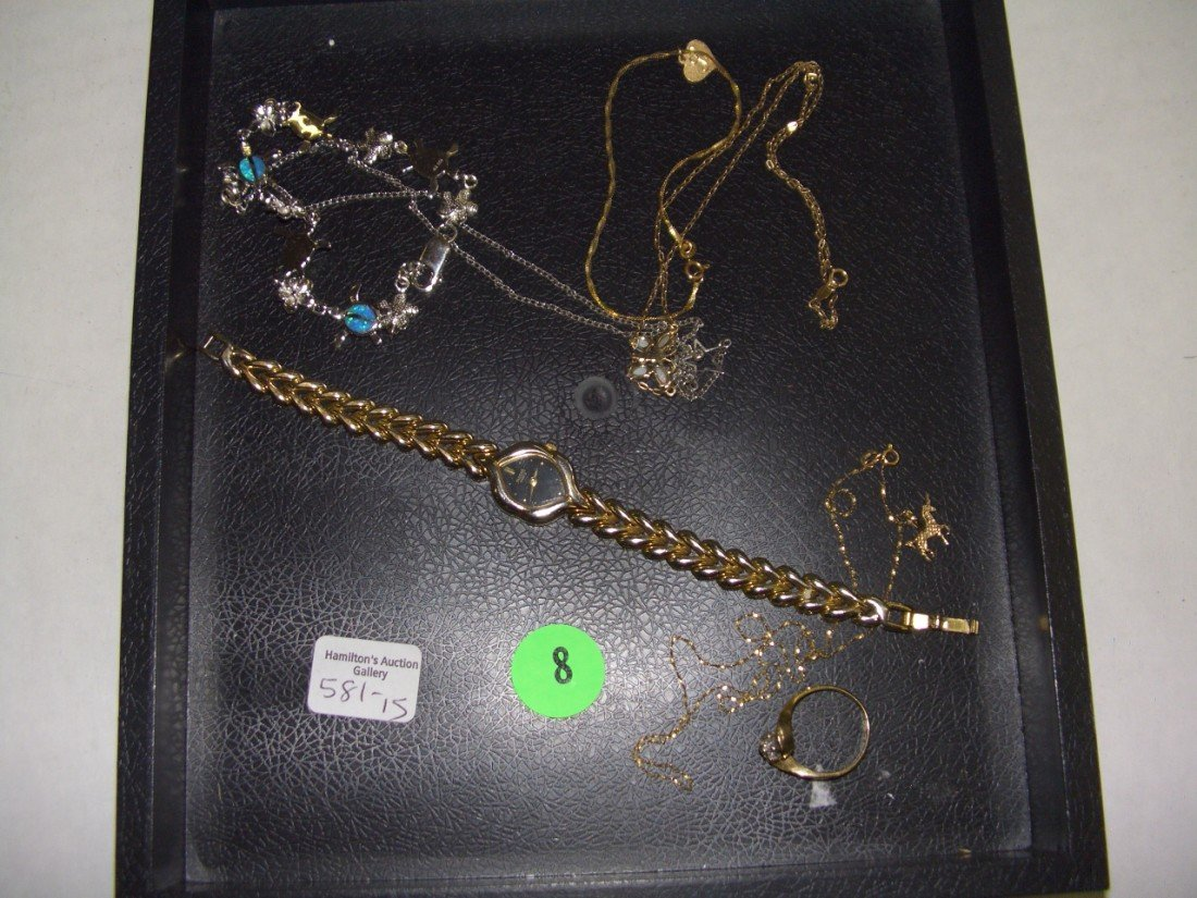 8: tray of estate jewelry (some real gold)