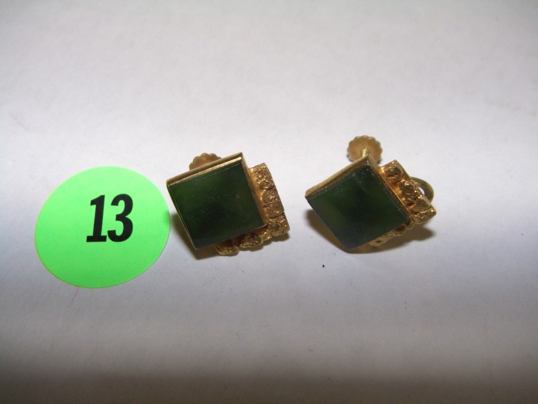 13: 2 piece  gold (10KT) and jade earrings