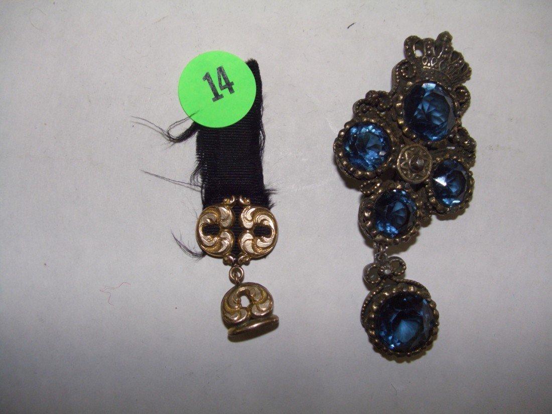 14: 2 piece estate Victorian jewelry