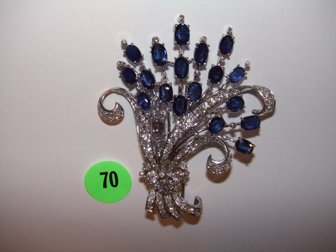 70: OUTSTANDING diamond and sapphire and platinum Clip-