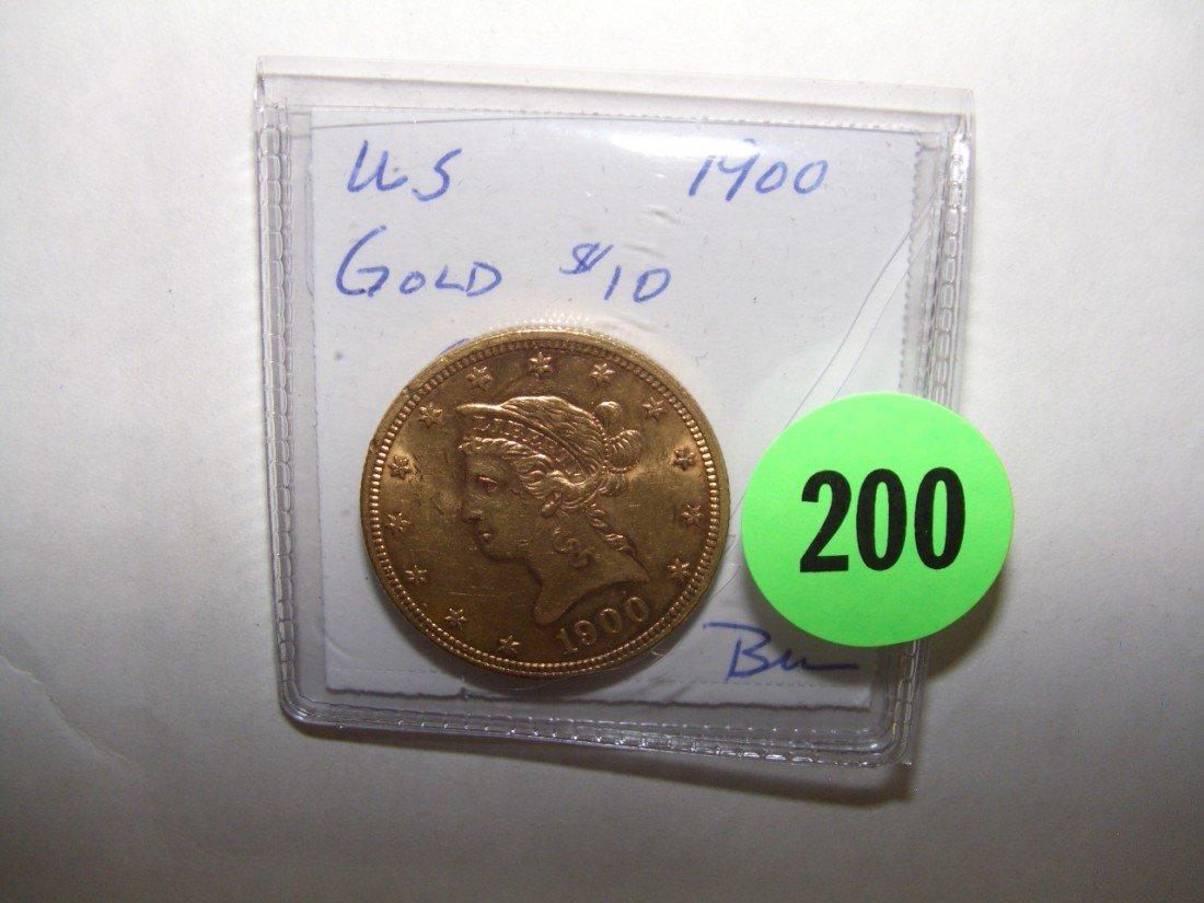 200: WOW nice US ten ($10) gold eagle coin 1900-P BU