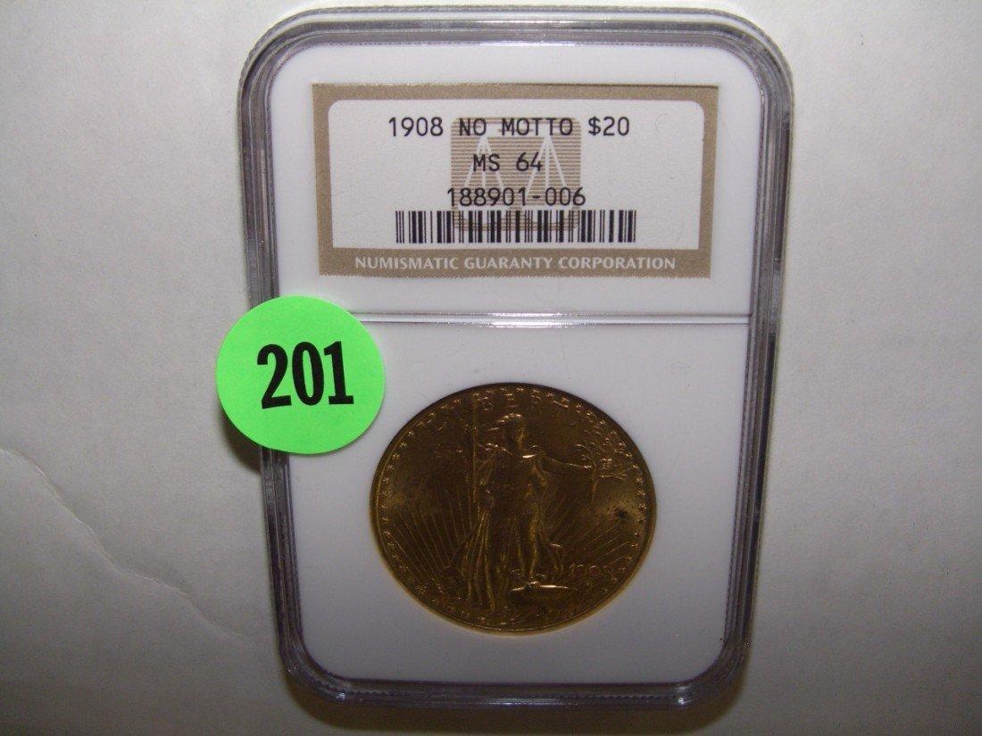 201: WOW nice US twenty ($20) gold Double Eagle 1908-P