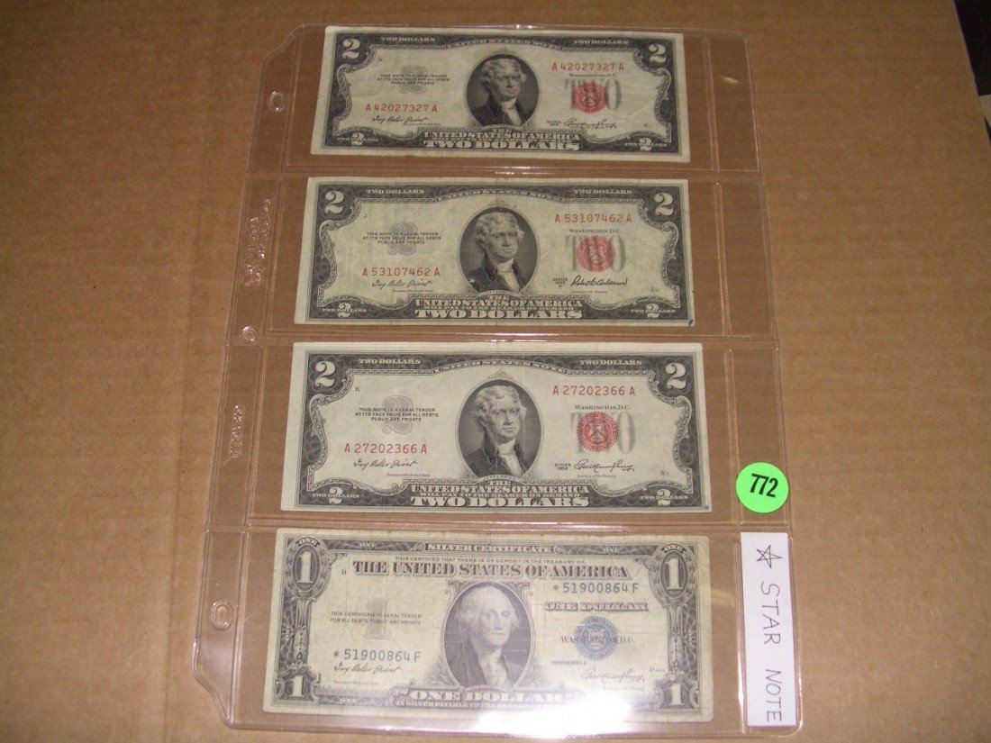 772: collection of US two (2.00) dollar bills 1 (one) s
