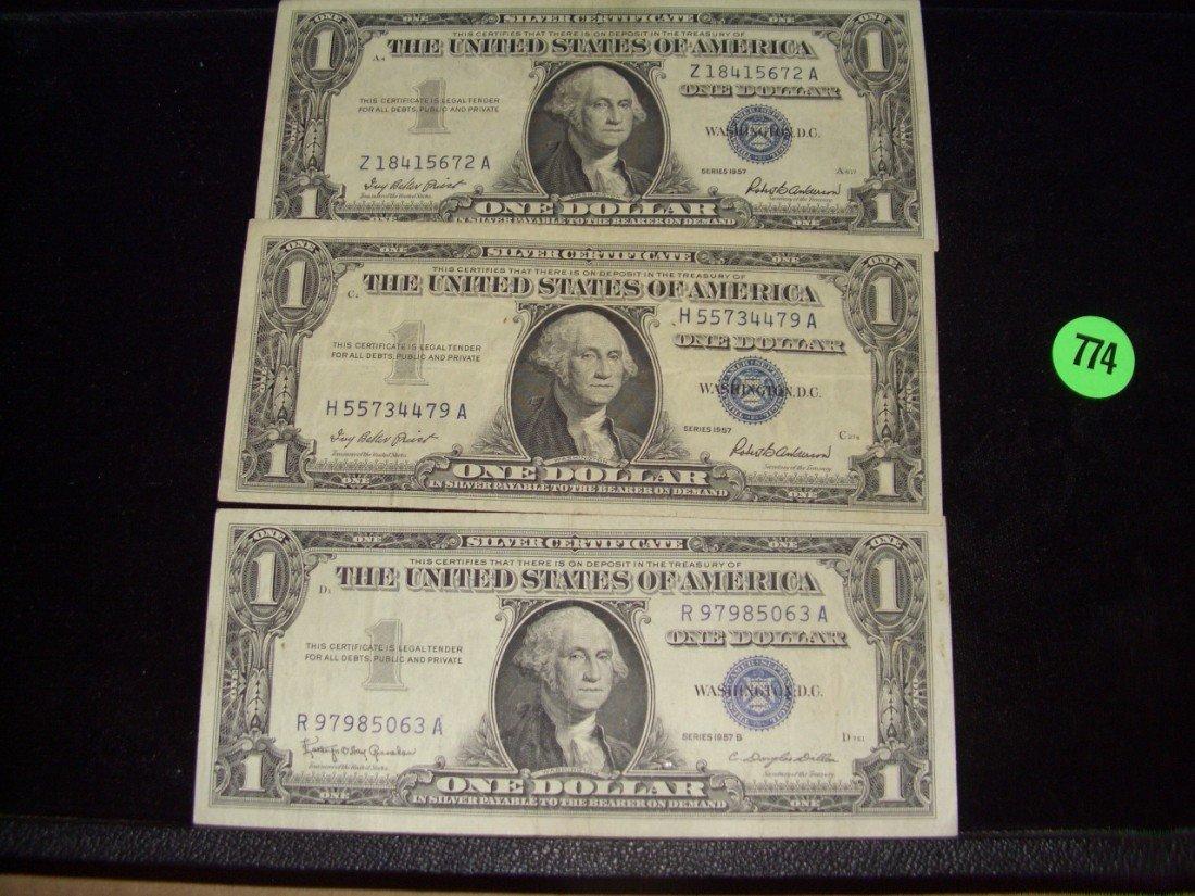 774: 3 piece US Silver Certificates (1957)