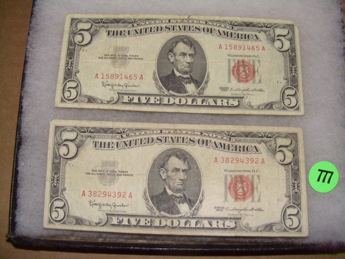 777: (2) US red seal five (5.00) bills 1963