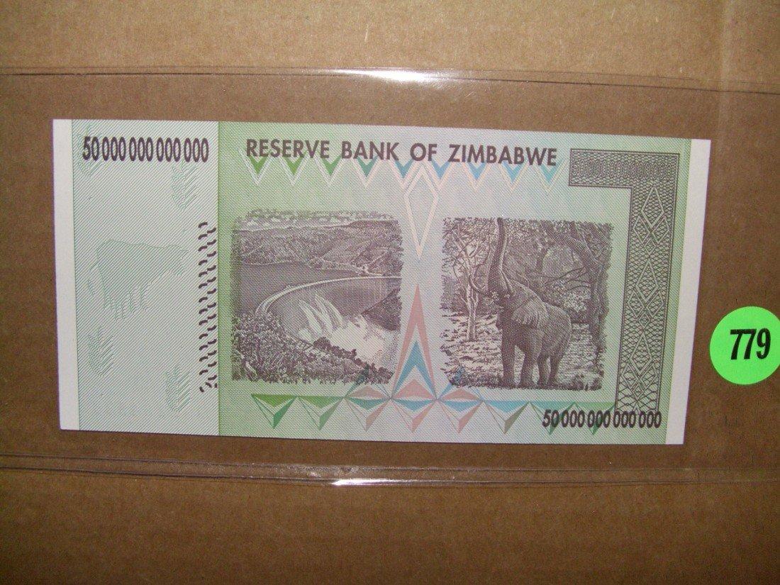 779: Zimbabwe 50 Trillion dollar bill (foreign)