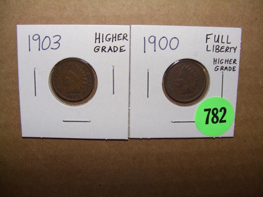 782: (2) piece 1900 & 1903 Indian head (Full Liberty) c