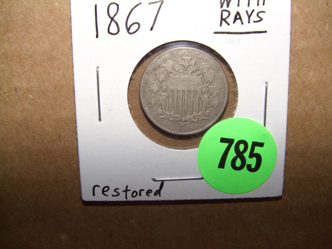 785: US 1867 Shield Nickel with rays
