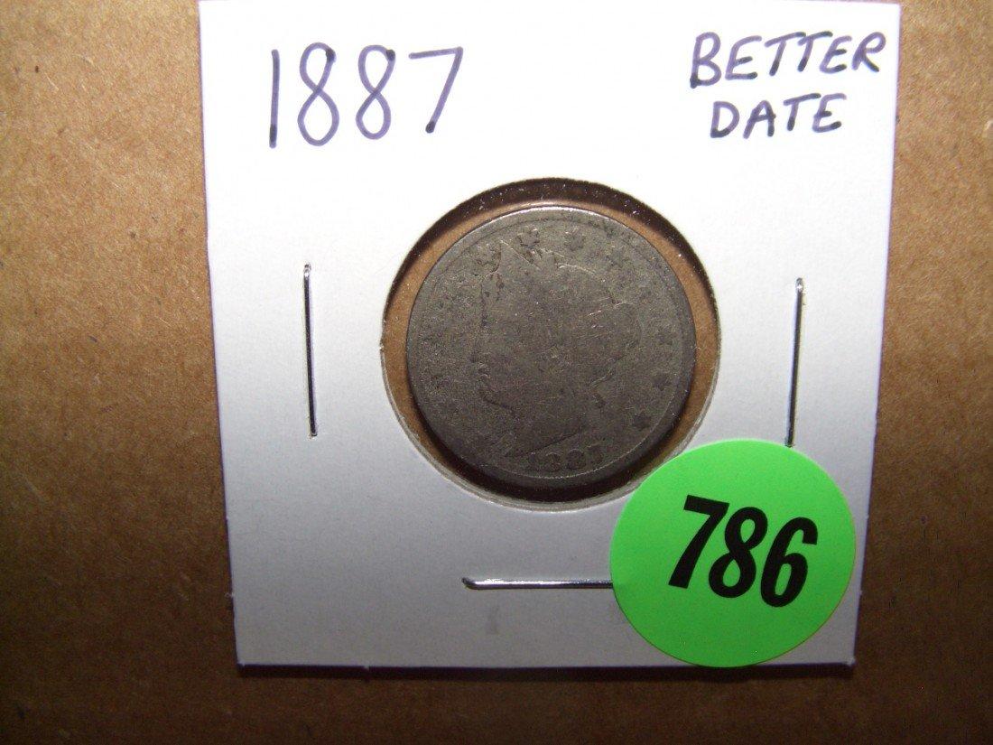 """786: US 1887 """"V"""" Nickel"""