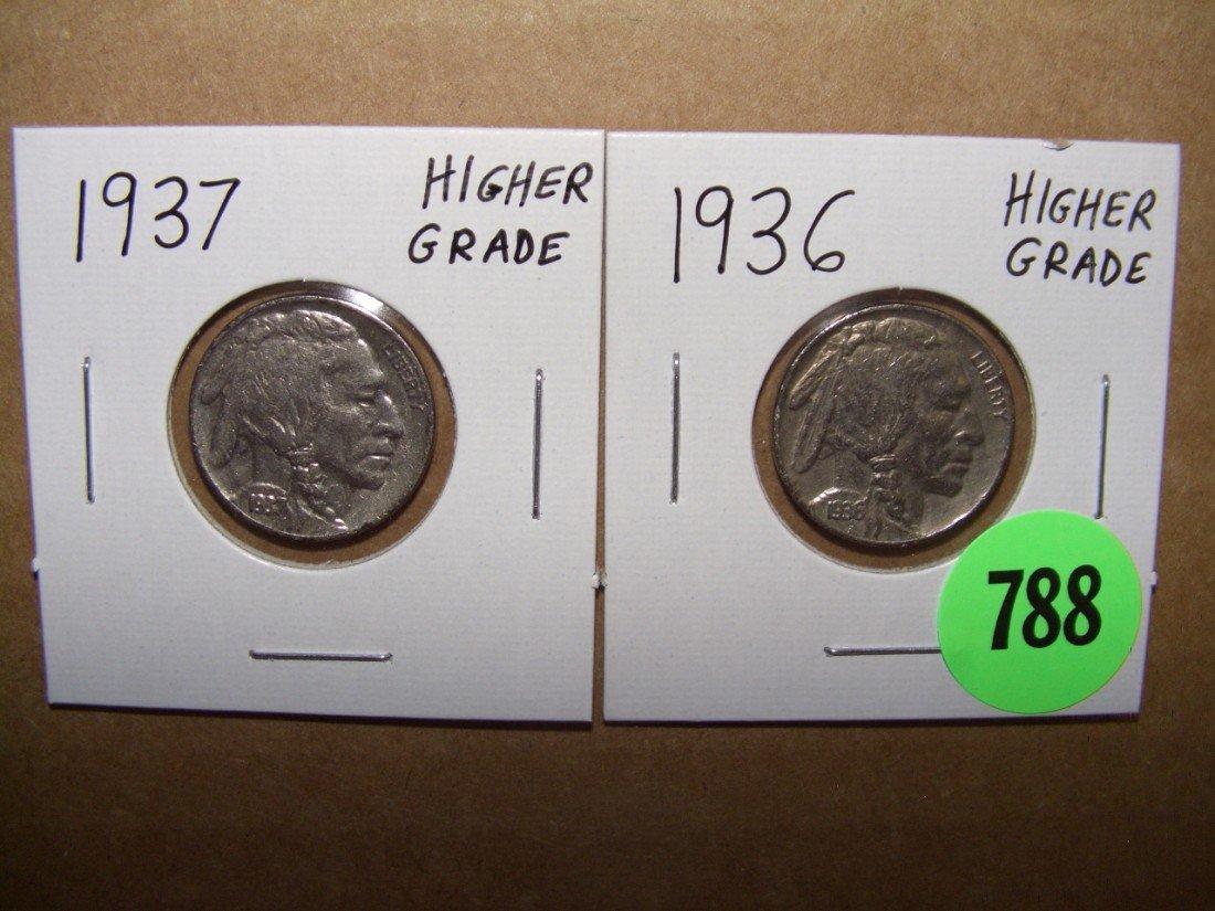 788: US (2) piece 1936 & 1937 Higher Grade Buffalo Nick