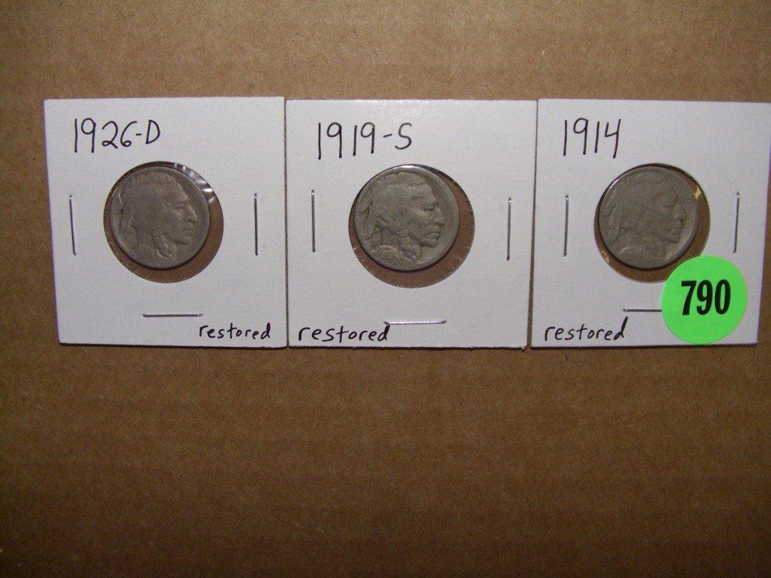 790: (3) PIECE 1914 - 1919-S - 1926-D Buffalo Nickels